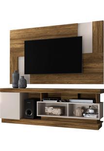 Conjunto Rack Mais Painel Para Tv Ate 50 Polegadas Tijuca– Colibri - Canela Rústico / Off White