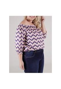 Blusa Ciganinha 3/4 Plus Size Autentique Feminina Lilás