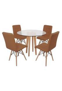 Conjunto Mesa De Jantar Em Vidro 90Cm Com Base Vértice + 4 Cadeiras Gomos - Marrom