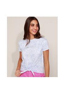 """Camiseta Feminina """"Always Believe"""" Estampado Tie Dye Manga Curta Azul Claro"""