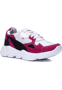 ac5bf3898 Rock Fit. Calçado Tênis Unique Feminino Pink Branco Retrô Conforto ...