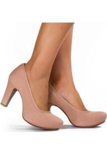 Sapato Scarpin Dakota Meia Pata Malha Feminino - Feminino-Nude