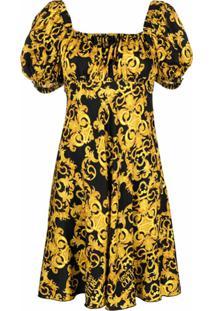 Versace Jeans Couture Vestido Acinturado Com Estampa Barroca - Preto