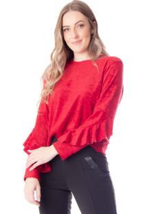 Blusa Cropped Feminina Cachepô Com Babados Vermelho - P