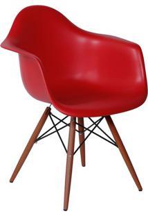 Poltrona Eames Dar- Vermelha & Madeira Escura- 82X62Or Design