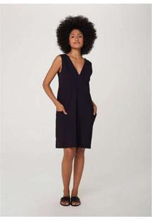 Vestido Curto Em Malha Texturizada E Bolso Preto