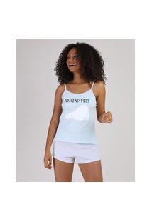 Pijama Feminino Estampa De Urso Alça Fina Azul Claro