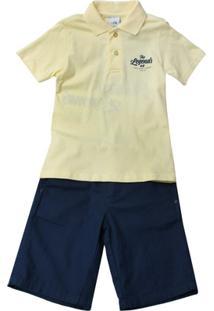 Conjunto Camiseta E Bermuda - Masculino-Amarelo