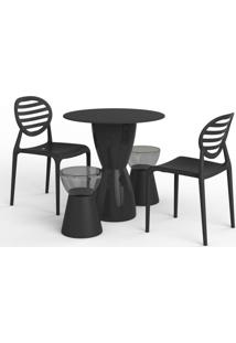 Conjunto De Mesa Com 2 Cadeiras E 2 Bancos | Banquetas Lounge Preto