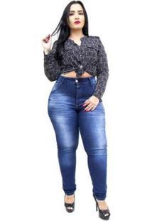 Calça Jeans Latitude Plus Size Skinny Suany Feminina - Feminino-Azul