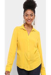 ... Camisa Social Aishty Manga Longa Feminina - Feminino-Amarelo b95bd6004af55