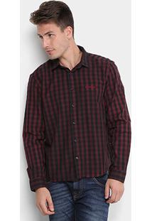 Camisa Xadrez Opera Rock Logo Bordada Masculina - Masculino-Vinho