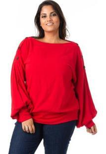 Blusa Confidencial Extra Plus Size Bufante Feminina - Feminino-Vermelho