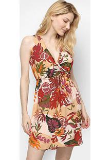 Vestido Cantão Curto Com Amarração Floral - Feminino-Laranja