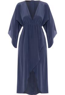 Vestido Transpassado Decote V Franzido - Azul