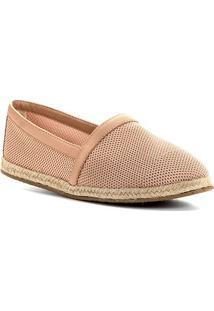 Sapatilha Shoestock Tricot Couro Corda - Feminino-Nude