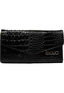 Carteira De Couro Recuo Fashion Bag Preto Com Croco