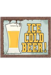 Quadro Decorativo Retrô Ice Cold Beer Madeira - Médio