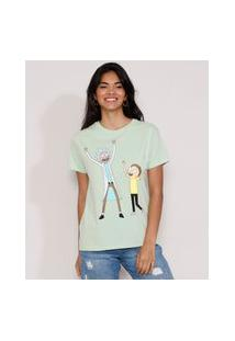 Camiseta Feminina Manga Curta Rick And Morty Decote Redondo Verde Claro