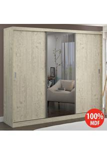 Guarda Roupa 3 Portas Com 1 Espelho 100% Mdf 7318E1 Marfim Areia - Foscarini