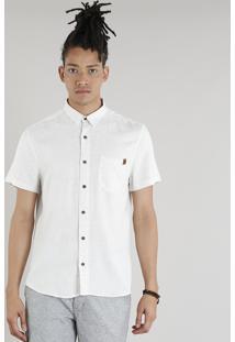 Camisa Masculina Com Bolso Em Linho Manga Curta Bege Claro