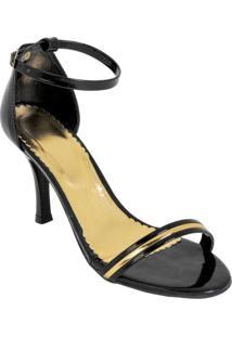 Sandália Preta Com Detalhe Dourado