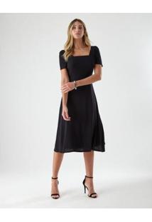 Vestido Ajustado Mangas - Feminino-Preto