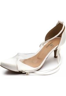 Sapato Scarpin Salto Baixo Em Napa Branca Com Transparência