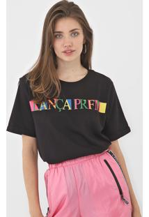Camiseta Lanã§A Perfume Lettering Neon Preta - Preto - Feminino - Algodã£O - Dafiti