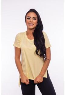 Blusa Aninha Bela Lisa Gola Redonda Feminina - Feminino-Amarelo Claro