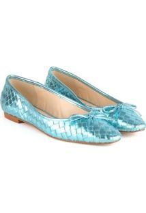 Sapatilha Lolis Feminina Laço Bico Fino Metalizada Elegante - Feminino-Azul