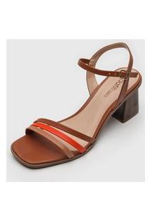Sandália Dafiti Shoes Tiras Caramelo/Laranja