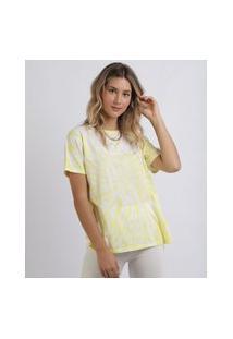 "Blusa Feminina Estampada Tie Dye Yellow"" Manga Curta Decote Redondo Amarela"""