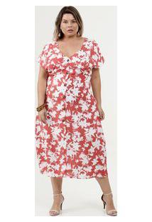 Vestido Feminino Midi Estampado Plus Size Marisa