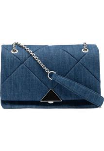 Emporio Armani Bolsa Transversal Matelassê Jeans - Azul