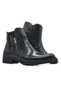 Bota Botinha Coturno Feminino Ankle Boot Em Couro Mod 1008 Preto