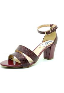Sandalia Salto Grosso Verniz Croco Dani K Vermelha