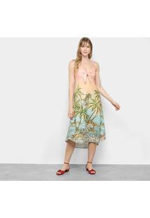Vestido Longo Farm Recanto Baiano - Feminino-Estampado