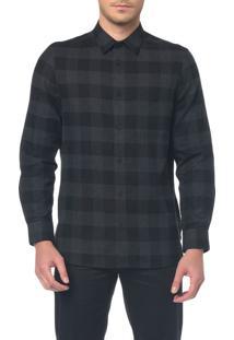 Camisa M/L Detalhe Tecido Aplicado - G