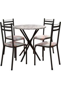 Conjunto De Mesa 80Cm 4 Cadeiras Lyon Preto Fosco Fabone Móveis Tubulares
