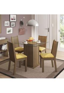 Conjunto De Mesa Com 4 Cadeiras Lucy Rustic E Palha