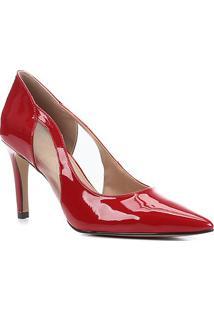 Scarpin Shoestock Salto Alto Verniz Tela - Feminino-Vermelho