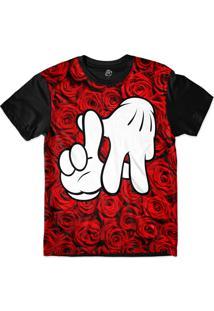 Camiseta Bsc La Hand Red Rose Sublimada Preto