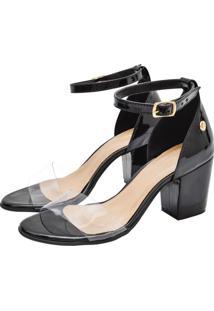 Sandália Corazzi Leather Deluxe Vinil Transparente Preto