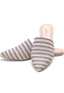Sapatilha Mulle Bico Fino Sb Shoes Ref.10350 Azul/Bege
