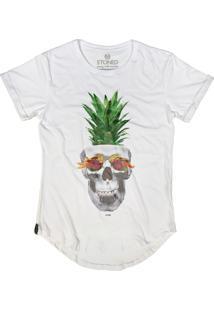 Camiseta Longline Stoned Pineapple Skull Branco