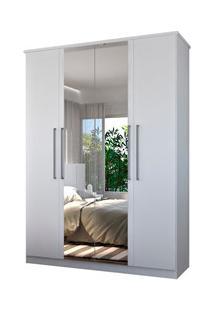 Guarda Roupa Solteiro 166Cm 4 Portas 2 Espelhos Single F04 Branco - Mp