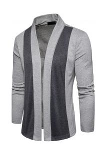 Cardigan Masculino Liso Slim Com Design Assimétrico Frontal - Cinza Claro