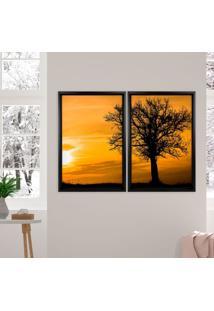 Quadro Love Decor Com Moldura Chanfrada Por Do Sol Com Árvore Preto - Grande