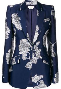 Alexander Mcqueen Blazer Com Brocado Floral - Azul